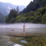 Morning mist, Fauna Lodge area, Sava Bohinjka