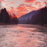 Red dawn on the Sava Bohinjka