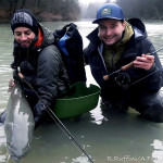 Friends in Hucho fishing - Robin and Andy!